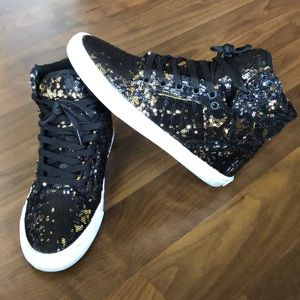 Supra Women's Skytop Skate Shoe (Sequin) 8.5